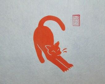 The Stretch - Ginger Cat Lino Block Print