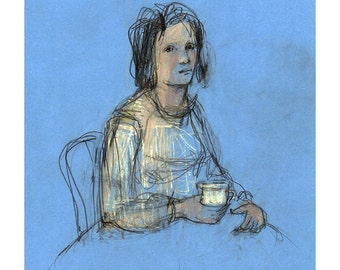 Woman Coffee girl drawing original art people figurative ooak illustration portrait sitting