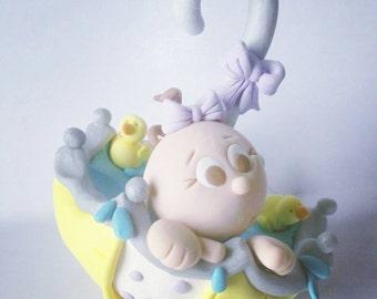 Baby Shower Umbrella Cake Topper Baby Boy Baby Girl or Neutral Baby on Blanket Personalized Custom Handmade Keepsake for Baby Shower party