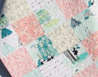 Panda Baby Quilt Girl Crib Bedding Blanket Coral Pink Gray Mint Nursery Teepees Panda Bears Bamboo Arrows Adorable Crib Bedding Toddler Bed