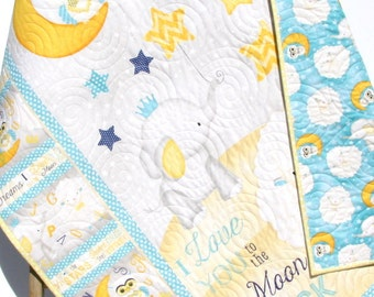 Baby Quilt I Love You To The Moon And Back Boy or Girl Crib Bedding Nursery Blanket Blue Yellow Grey Sheep Elephant Stars Handmade Keepsake