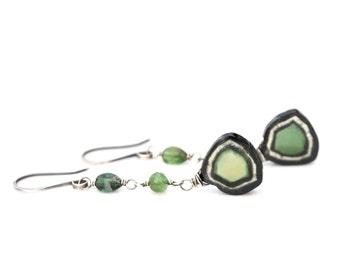 Watermelon Tourmaline Earrings, Luxe Green Watermelon Tourmaline Slice Earrings, Green Tourmaline Dangles