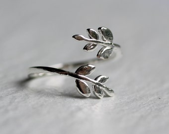 Leaf Twig Ring ... Silver Vintage Midi Adjustable Flower Ring