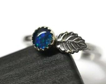 5mm Australian Opal Ring, Silver Leaf Ring, Handforged Gemstone Ring, Blue Green Opal Triplet, Leaf Jewelry