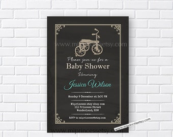 Vintage rustic bicycle Baby Shower Invitation, chalkboard Retro baby shower invitation baby boy Shower Design - card 131