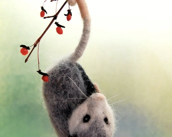 Needle Felted Possum. Needle Felted Opossum. Wool Felt Possum. Woodland Toy. Possum Toy. Felted Woodland Animal. Opossum Animal