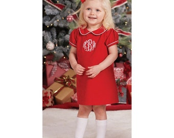 Baby girl Christmas dress, Toddler Monogrammed Christmas dress, Girl Christmas outfit, Red Corduroy Dress,