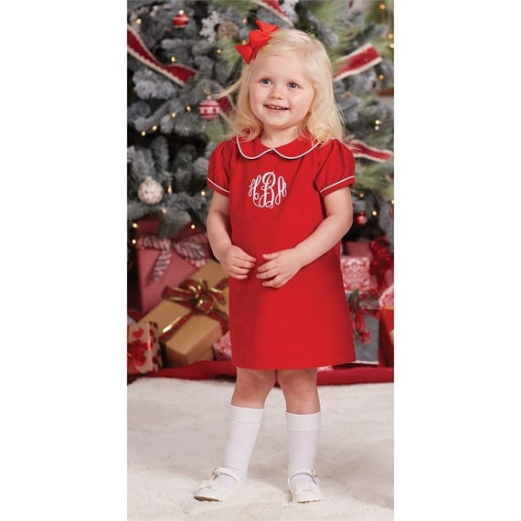 Baby girl Christmas dress Toddler Monogrammed Christmas