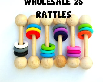 WHOLESALE Wooden Rattle Teether Montessori Inspired Baby Toys
