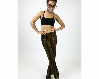 90's does 70's Olive Green and Brown Stripes Velvet Boho Grunge Festival Pants // S - M