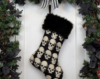 Goth Punk Christmas Stocking Realistic Anatomical Skull on Black with Black Faux Fur