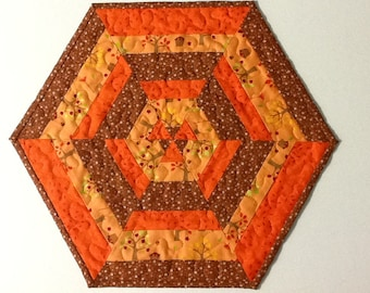 Quilted Autumn Hexagon Table Topper, Fall Candle Mat, Quiltsy Handmade