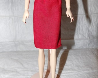 Fashion Doll Coordinates - Skirt in solid red color - es396