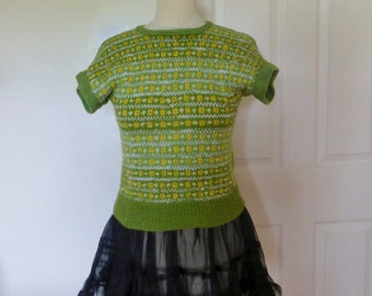 Vintage style newly knitted '40s/50s retro fair isle hand knit green, yellow, white - small