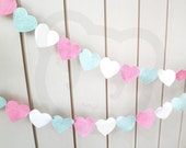 Pink Heart Garland - felt bunting made with wool blend felt in pink, mint and white, perfect for kids room or birthday
