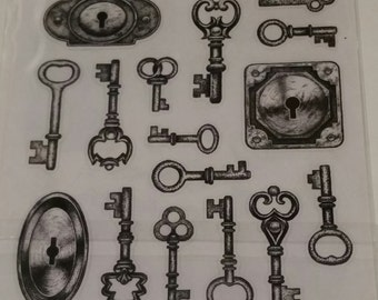 Keys and Locks Stickers-2 sheets, 32 stickers