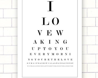 Vintage Eye Love You Chart- Instant Wall Art Digital Download Print- JPEG