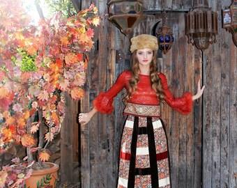 60s PATCHWORK Velvet Cotton Floral Maxi Skirt / Hippy Gypsy Bohemian Clothing by TatiTati Style on Etsy