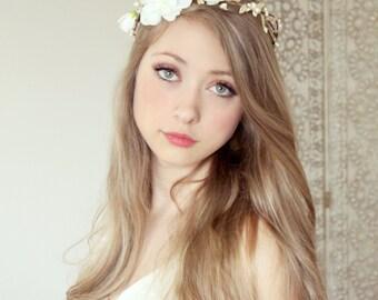 floral crown, bridal headpiece, wedding flower crown, ivory Flower crown, rustic head wreath, wedding headband, bridal hair