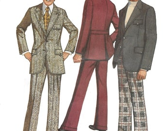 Simplicity 5161 -38- Men's 70s Suit Sewing Pattern  Chest 38  (see other listings for other sizes)