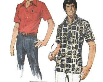 Simplicity 6368 Men's 70s Jiffy Shirt Sewing Pattern Chest 38 to 40 & 46 to 48