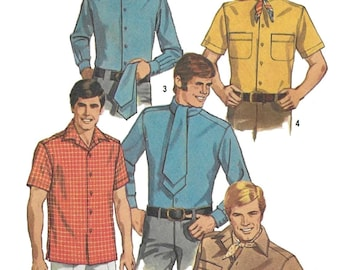 Simplicity 8209 Men's 60s Set of Shirts, Scarf, & Ascot Sewing Pattern Chest 42 to 44
