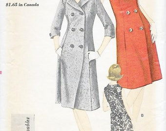 Vogue 6072 Young Fashionables 60s One Piece Coat Dress Sewing Pattern Bust 34