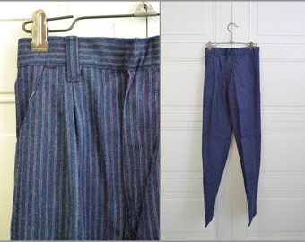 1980s NOS Girl's Wrangler Pink and Turquoise Striped Cotton Denim Jeans