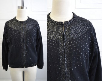 1950s Black Sequinned Cardigan Sweater
