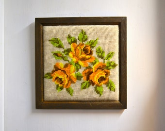 1970s Yellow Roses Framed Needlepoint
