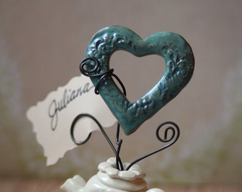Handmade Tea Pot/Place Card Holder/Paper Weight/Valentine Note Holder/Ceramic Heart Decoration/Tea Party/Wedding