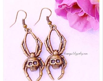 Spider Earrings , Bronze Spider Skull  Dangel  Earrings, Emo, Gothic, Vamp, Handmade By: Tranquilityy