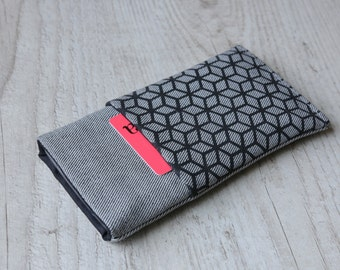 Microsoft Lumia 950, Lumia 950 XL sleeve case cover pouch handmade light jeans and black with pocket and cube pattern