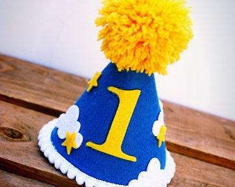First Birthday Hat, Star Birthday Hat,  Birthday Hat, Cloud Birthday Hat, Felt Birthday Hat, Party Hat, Mini Party Hat:  Star Sky
