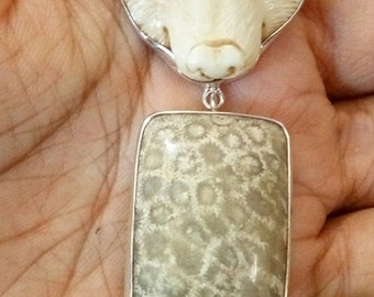 Hand Carved Cougar Buffalo Bone Fossil Coral Agate 925 Sterling Silver Pendant PN959 E1123