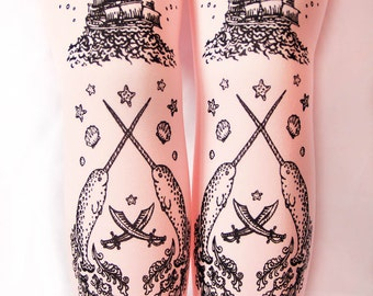 Pastel Pink Octopus Narwhal Tights Printed Tattoo Tights Black on Baby Pink Rose Small Medium Womens Fairy Kei