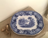 "Amazing Vintage Blue Transfer Ware platter. "" BOSPHORUS"" CHINA, Glasgow. My vintage home."