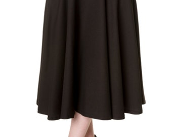 Brand New Vintage Style Gracie Swing Skirt in Black Pin Up Rockabilly Style