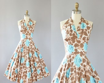 Vintage 50s Dress/ 1950s Cotton Dress/ Turquoise and Brown Rose Print Cotton Halter Dress S