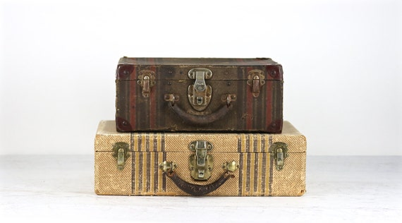 Suitcase Stack Vintage Suitcases Striped Suitcases Stack Of
