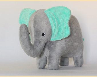 Stuffed Elephant Toy - Gray and Aqua Teal Minky Plush Elephant - Elephant Toy -Nursery Decor - Baby Christmas Gift - Kids Gift - Blue