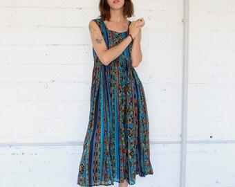 gauze dress, 90s bohemain cotton gauze baby doll long dress,  hand blocked print, womens medium m