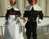 Handmade Barbie and Ken Pilgrim costumes