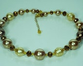 Brown and Beige Pearl Necklace and Earrings