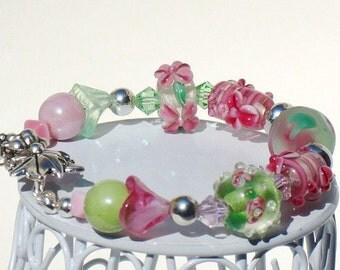 Lampwork  Beaded Bracelet -  Pink Green Lampwork Floral and Sputnik  Beaded Bracelet