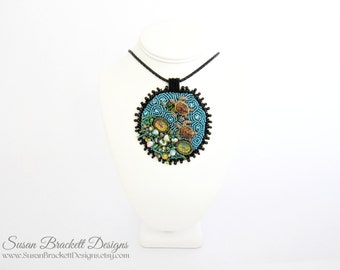 Turtle Reef Beaded Pendant Ocean Necklace Bead Embroidered Bibs Sea Life Embroidery Bohemian Style Shells