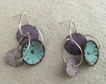 Calder Enamel Earrings in Turquoise, Purple and Speckled White