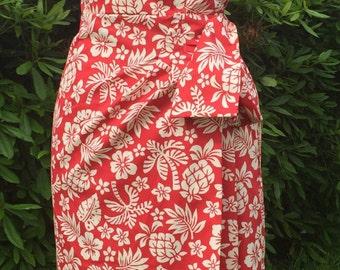 Vintage 1950s inspired Hawaiian sarong halter dress red white hibiscus flowers XS to XXL VLV rockabilly Viva