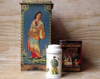 Three Asian Inspired Tins Instant Collection of Tins