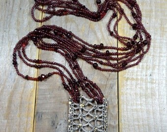 Timeless Meditation ~  Sterling Silver, 18k Gold and Garnet Statement Necklace, Unique Necklace, One of A Kind Necklace